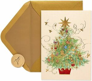 Gorgeous Papyrus Christmas Card - Gold Embossed Christmas Tree - Retail $7.95