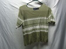 Laura Scott Petite Short sleeve knit top  striped casual / size M  Fast Shipping