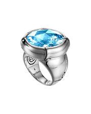 John Hardy Batu Bamboo Silver Blue Topaz Ring Size 8