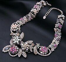 Stunning multi colour crystal flower garden inspired statement collar necklace