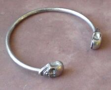 Solid Double Skull Twin Head Twin Skull Silver Bangle Cuff Bracelet