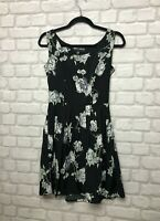 MELA LOVES LONDON LADIES DRESS SIZE 10 BLACK FLORAL MINI PARTY