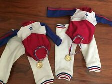 """2 American Girl Doll Olympic Gymnastics Outfits with metals 18"""" Doll Retired"""