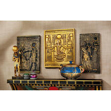 Set of 3 Egyptian Wall Plaque Sculptures: King Tut, Goddess Isis, & God Horus