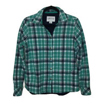 ORVIS Flannel Shirt Jacket Shacket Size S Green Blue Plaid Fleece Lined