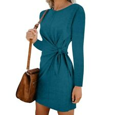 Autumn Winter Fashion Womens Slim Sexy Solid Bow Pullover Long Sleeve Mini Dress