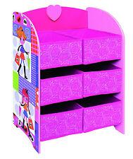 Kids Girls Pink Storage Unit + 6 Cube Canvas Drawers Toy Game Shelves Unit Box