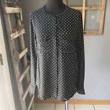 Who What Wear Polyester Black White Polka Dot Long Sleeve Career Dress Blouse S