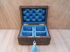 SUPERB 19c BLACK FOREST HAND CARVED ANTIQUE  JEWELLERY BOX - FAB INTERIOR
