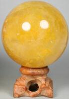 NATURAL Yellow PHANTOM MULTI-INCLUSIONS Rainbow CRYSTAL polishing sphere Ball