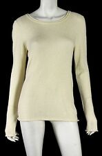 THE ROW Cream Cashmere Crewneck Long Sleeve Knit Sweater L