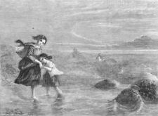 CHILDREN. The rising tide, antique print, 1860