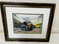 Vintage Painting Of AA Automobile Association Advertisement Framed Collectable