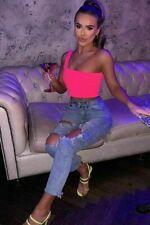 Womens Ladies Crop top ONE Neon Shoulder Party Club Festival Vest TOP Bardot Bra