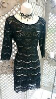 🌹PHILOSOPHY 🌹SHEER BLACK LACE STRIPE WIGGLE EVENING DRESS UK 10 VGC PARTY GOTH