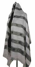 Large Elegant Striped Oblong Scarf Shawl Wrap, White/Black