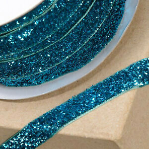 TURQUOISE VELVET GLITZY RIBBON 10mm x 10M CRAFT CHRISTMAS CAKE GIFT WRAP
