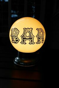 "Vintage ""Bar"" Milk Glass Globe and Chrome Lamp."
