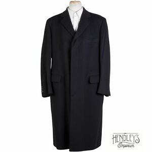 BROOKS BROTHERS Cashmere Coat 42R in Midnight Black Dress Overcoat ITALY