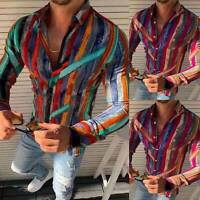 Men Slim Fit V Neck Long Sleeve Striped Muscle Tees T-shirt Casual Slim Fit Tops