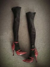 $2500 Alexander McQueen Red Snakeskin & Black Leather Thigh High Boots Size 39