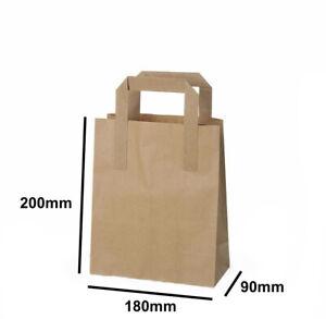 Paper Bags Brown Kraft SOS Carrier Bags Flat Handle - All Sizes