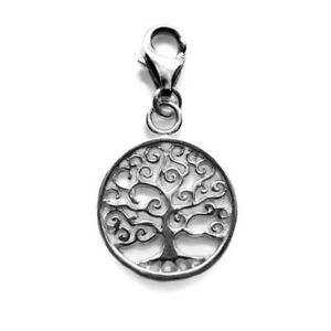 925 Sterling Silver Clip On TREE OF LIFE w/ lobster trigger clasp (bracelet)