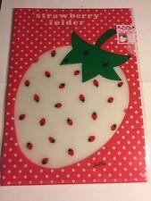 Rare Vintage Sanrio Original Japan A4 Folder Plastic File Strawberry Set Of 2
