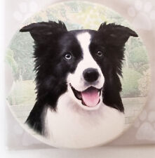 """Border Collie Dog Absorbent Car Coaster Stoneware 2.5"""" Diameter by E&S Pets"""