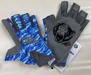 Fish Monkey Pro 365 Guide Glove UPF 50+ Blue Water Camo Fishing Gloves Sz XL NWT