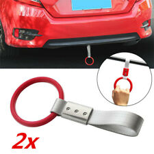 2x Universal Red Car Tow Ring Strap Interior Hand Grab Handle Decoration Hanger