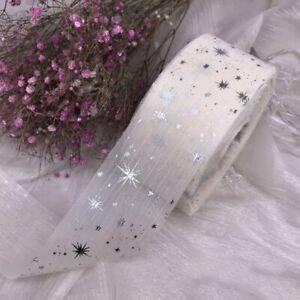 5 Yards Diy Craft Glitter Star Printed Wrinkle Net Gauze Organza for Ribbon