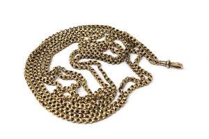 A Super Long Antique Victorian 9ct 375 Yellow Gold Guard Chain Necklace 150cm!