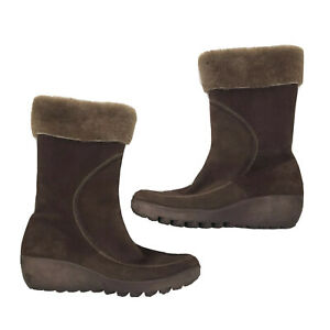 tsubo brown fur trim Zip Side Wedge Aq-102 boots Size 9