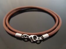 """3mm Brown Leather & Stainless Steel Necklace Or Wristband 16"""" 18"""" 20"""" 22"""" 24"""" 26"""