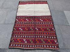 VECCHIO Persiano Fatto a Mano Orientale Lana Rosso Arancione Colorato Kilim 167x105cm