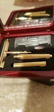 Vintage TRAVEL Gold-TONE RAZOR SET Gift Hostess Gift