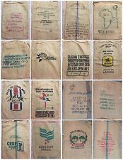 Burlap Coffee Sack Bag Gunny - Assorted Lot of 6 bags / A6