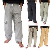 Men's 100% Cotton Cargo Pants One Size baggy pants Drawstring Elastic Waist