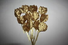 144 X Gold Silk Large Artificial Rose Leaves 60mm Gold Wired Stems