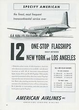 1951 American Airlines Ad Douglas DC-6 New York to Los Angeles One Stop