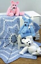 Baby Blanket and Teddy Bear Crochet Pattern 99p