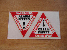 "2x ""Alarm Fitted"" decals - large 80mm x 70mm stickers / decals"