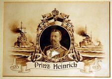 Mummert Carl-Monogrammiert C.M.-Prinz Heinrich-Portrait-Schiffe-Gouache-gerahmt