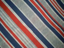 Vintage RED, BLUE & GREY STRIPE Fabric (34cm x 50cm)