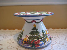 Saltcity Hand Painted Ceramic Christmas Footed Stand