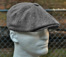 HERRINGBONE TWEED GATSBY Newsboy Cap Men Wool Ivy Hat Golf Driving Flat Cabbie