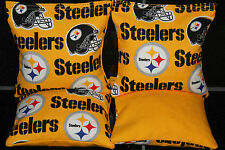 Pittsburgh Steelers 4 Cornhole Bean Bags Baggo Toss Game Quality Handmade!