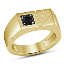 14K Yellow Gold Fn Fashion Pinky Band Mens 0.25 Ct Round Solitaire Black Diamond