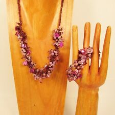 "20"" Handmade Light Purple Shell Chip Seed Bead Necklace/Bracelet PERFECT MATCH"